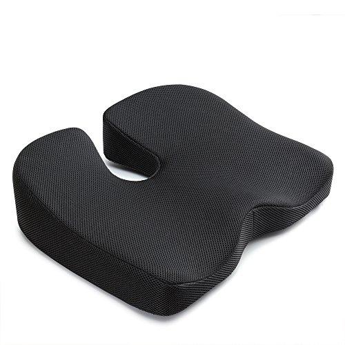 IKSTAR 第四世代座布団 低反発クッション オフィス 椅子用 車用 腰楽クッション 体圧分散 座り心地抜群 ブラック【メーカー直営・1年保証付】