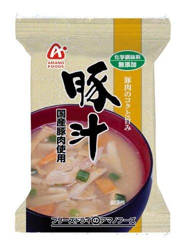 アマノフーズ フリーズドライ 味噌汁 無添加 豚汁 10袋セット (国産豚肉使用)