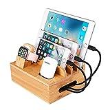 epzoee 4 in 1 充電スタンド 充電ステーション 7ポート 同時充電 卓上ホルダー ケーブル収納充電台アップルウォッチ タブレット スマホスタンド ケーブル/Apple/iPhone/iPad/AirPods/HuaWei/XiaoMiに対応 (竹製)