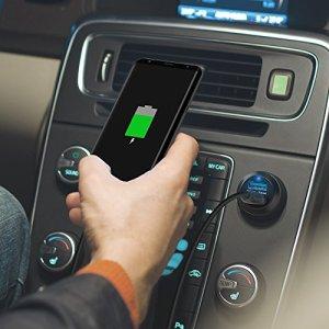 Quick Charge 3.0 カーチャージャー RAVPower ( QC 3.0 & iSmart 対応 x 2ポート 40W ) 12/24V車対応 車載充電器 急速充電 iPhone / iPad / Android 各種対応 60cm Micro usb ケーブル付き