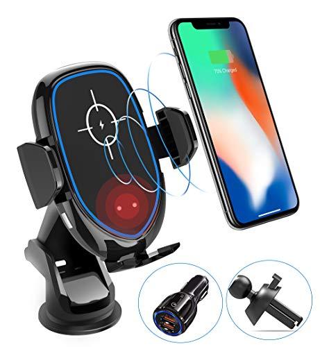 [2019進化版]車載Qiワイヤレス充電器車載ホルダー赤外線センサーによる自動開閉アロマケース付き 優しいLEDライト 【冷却ファン搭載】 10W/7.5W急速ワイヤレス充電器360度回転 エアコン吹き出し口&吸盤式両用 【Quick Charge 3.0 USB車載急速充電器付き】 iPhone X/XR/XS/XSMAX/8/8 Plus/Galaxy S9/S8/S8 Plus/S7/S7 Edge/S6/S6 Edge/Note 8/Note 5/Nexus 5/6等多機種対応