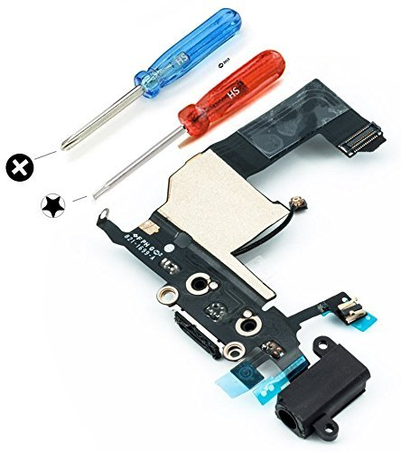 iPhone 5 ドックコネクタ修理用パーツ USB充電ポート フレックスケーブル ブラック マイクおよびホームボタンコネクタ組立て済み ドライバー×2本付属で組立て簡単