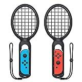 マリオテニス エースに対応テニスラケット FYOUNG ラケット型アタッチメント Nintendo Switch Joy-Con用 マリオテニスなどのテニスゲームに対応 落下防止ストラップ付き 軽量ABS製 テニスゲームの臨場感 2点セット (ブラック)