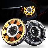 ラングラー ヘッドライト,OVOTOR LED 7インチ ヘッドライト 60Wウインカーデイライト付き プロジェクターヘッドライト ジープ ラングラー jk ジムニー ja11トヨタ FJクルーザー対応