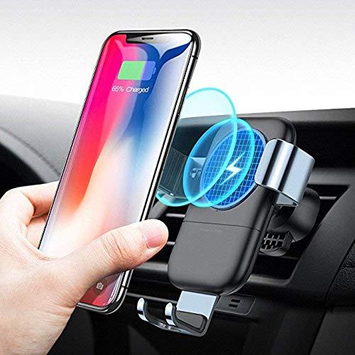 【Humixx】Qi車載ワイヤレス充電器 車載ホルダー QC2.0/3.0 急速充電 重力自動調節 360度回転 カーホルダー エアコン吹き出し口 車用充電器 iPhone 8/X/XS Android/GalaxyS9/S9+/S8/S8+ その他Qi対応機種(車載ワイヤレス充電器, ブラック)