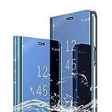 [XCYYOO] Samsung Galaxy A60 半透明 鏡 手帳型ケース 手帳型カバー 携帯カバー 携帯ケース スマホケース ケース 手帳 クリスタルケース アイフォンケース 人気 おしゃれ かっこいい-ブルー