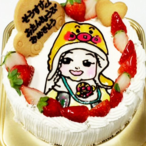 似顔絵ケーキを還暦祝いのサプライズに贈る