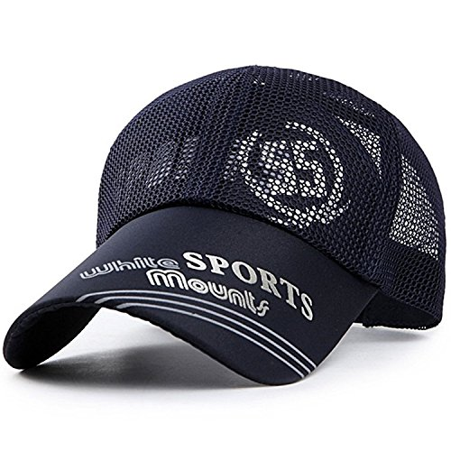baby-mine (ベイビーマイン) メッシュ キャップ ロゴ カジュアル つば長 野球帽 帽子 アウトドア 釣り ゴルフ 通気性 メンズ (ネイビー)