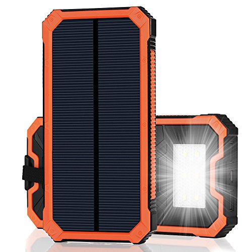 父の日 15000mAh大容量 iPhone充電器 モバイルバッテリー ソーラーチャージャー 2USB充電ポート 2つの充電方法 フック付き 緊急防災用 iPhone7 iPad Android Xperia Galaxy等に対応 旅行 キャンプ アウトドアに大活躍(オレンジ)