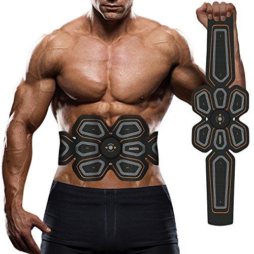 腹筋ベルト EMS 腰部 腹筋トレーニング 多機能 マシーンフィットネスベルト ダイエット器具 超薄 男女兼用 健康機械 USB充電式 Lemebo (黄)