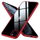 iPhone 11 Pro Max ケース クリア スリム tpu 透明 耐衝撃 薄型 シリコン Qi充電対応 メッキ加工 軽量 一体型 6.5インチ 人気 アイフォン 11 Pro Max カバー レッド