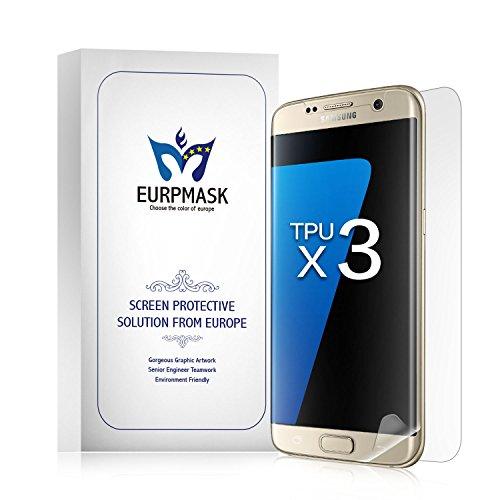 EURPMASK Samsung Galaxy S7 edge 専用 保護フィルム 高透過率 スムースタッチ 耐久性 撥油性 指紋防止 保護フィルム【4枚付き、液晶面フィルム3枚+背面保護フィルム1枚】「品質保証」クリア