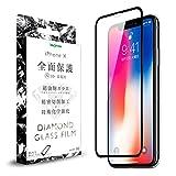 iPhone X ガラス フィルム 全面保護 耐衝撃 [ ダイヤモンド ガラスフィルム ] 光沢 / ブラック