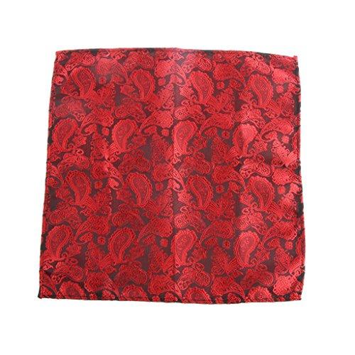 【ノーブランド品】男性 紳士 花柄 ポケット ハンカチ ポケットチーフ ハンカチーフ 高品質 全21色 - ブラック&レッド