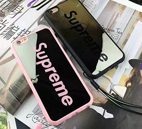 Supreme シュプリーム 手触り良い つるつる鏡面 カップル 恋人 FASHION スマホカバー 超軽量 (iPhone6/6s, ピンク)