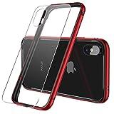 【CASEKOO】iPhone X ケース アルミバンパー 電波影響無し 背面ガラスフィルム付き 衝撃吸収バンパー 二重構造(アルミフレーム/TPU)バンパー ストラップホール付き 軽量 取り出し易い おしゃれ (iPhone X, レッド)