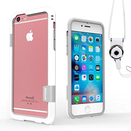 WOEXET iPhone 6/iphone 6s用バンパーとストラップセット ストラップ付きケース カラビナ 落下防止 モバイル 携帯ストラップ ネックストラップ スマホ用ストラップ ホワイト