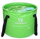 Freegraceメッシュポケット付きプレミアム折り畳み式バケツ‐多機能の折り畳みバケツ‐キャンプ、ハイキング、旅行に最適 (グリーン, 16L)