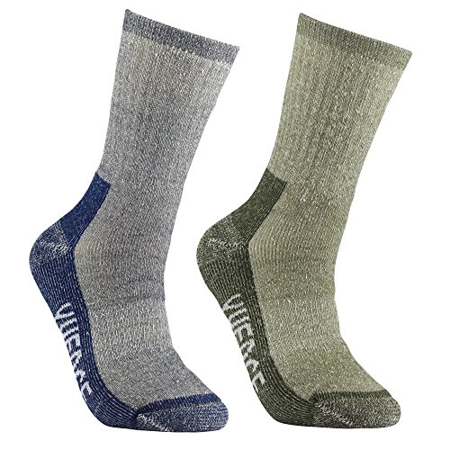 YUEDGE メンズ メリノウール ソックス トレッキング スポーツ 登山 ゴルフ スキー ハイキング ソックス 靴下 暖かい 柔らかい手触り 吸汗 通気 抗菌防臭 靴下 2足二色セット