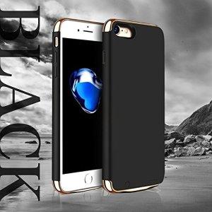 """TECHY 薄型 大容量 iphone7/iphone8用 4.7"""" スリムバッテリー ケース 3500mah パワーバンク iphoneを1.5回充電 ラグジュアリー スマホ アイフォン おしゃれ 充電 同期 軽量 薄い (ブラック)"""