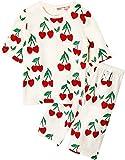Unifriend 7分袖7分丈 キッズ 女児 綿100% オーガニック ルームウェア パジャマ ねまき 上下セット_ハートチェリー_90cm