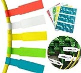 ケーブル ラベル 10枚 300ラベル A4 屋外でも使える ケーブルタグ (5色)