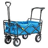 EzyFast 折りたたみビーチワゴン、折りたたみ式アウトドア多用途ガーデンショッピングカートゴム製ホイール付きブレーキ付き (ブルー)