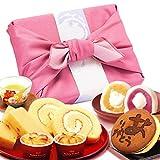 プレゼント 人気スイーツギフトセット 竹籠入り風呂敷包 (ピンク色風呂敷)