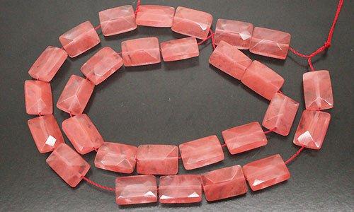 ビーズライン 卸売/ チェリークォーツ 幸せを呼ぶピンクの輝き レクト型ファセットカット 15x10x11mm 1本 【1点】