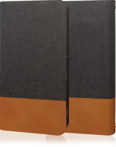 YUI ELUGA X P-02E エルーガ P02E 高級牛革 本革 レザー ケース 手帳型 薄型 手帳 カバー 手帳型ケース スマホケース フリップケース フリップ ダークグレー ブラウン ツートン バイカラー ツートンカラー P02E-10000121-10001-1001