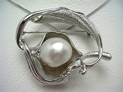 イソワパール 白蝶真珠 ブローチ 14.2mm ホワイト シルバー 植物 63091