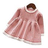 Mornyray ベビー服 ワンピース ドレス ニット 長袖 チェック柄 子供服 暖か 厚手 おしゃれ 女の子 幼児 0-4歳 size 110 (ピンク)