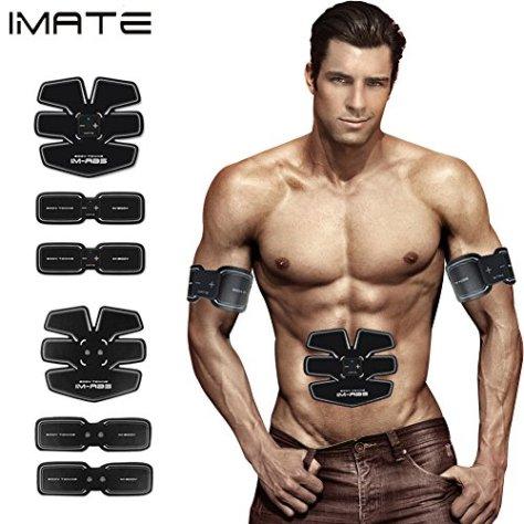 IMATE EMS筋トレUSB充電式超薄型超軽量静音微弱電流エクササイズダイエットトレーニングマシーントレーナーベルト(腹筋・背筋・お腹・ウエストを刺激)ボディフィットセット(フィットパッド、方形主体、専用ケースや充電用USBなどを含め)