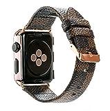 Apple Watch バンド レザー アップルウォッチ ダミエ柄 おしゃれ series 4/3/2/1対応(38mm, ブラウン)