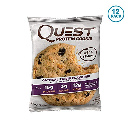 Quest Nutrition プロテインクッキー、高タンパク質、低炭水化物、グルテンフリー、大豆フリー、 オートミールレーズン