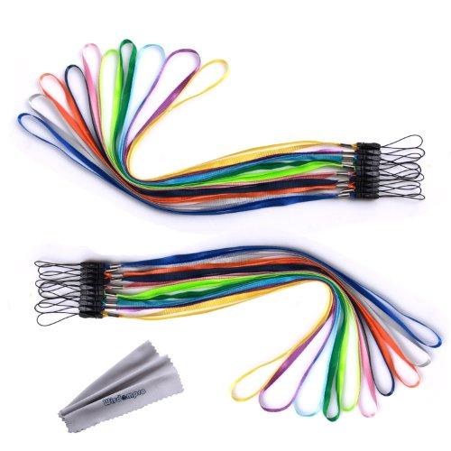 ネックストラップ Wisdompro 落下防止 紛失防止 USBメモリ・キー・ホイッスル・笛・マスコット用 着脱可能 松葉付き 多色入れ組 20本組