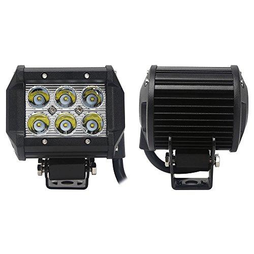 18W CREE製 作業灯 LED ワークライトGREENBEAN 狭角タイプ 60度 フラッドライト 6発 12V-24V対応 汎用 車外灯 農業機械 4インチ 6発 6000K ホワイト 2個