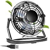 aceyoon USB 扇風機 小型 4枚羽根 卓上 ミニ ファン 360度調整 携行便利 コンパクト こがた MINI FAN 強力 1800PRM USBケーブル 1.1M 長い設計 オフィス / 部屋 / 車内 / ベッドルーム などに活躍 サイレント