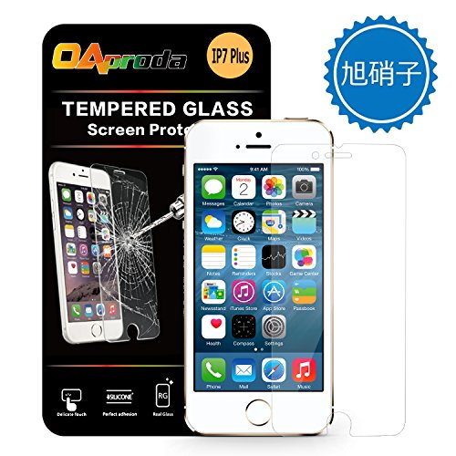 OAproda iPhone 7plus/iPhone 7専用設計 保護フィルム 液晶強化ガラス 日本製素材旭硝子製 AGC 防爆裂 2.5D touch 硬度9H 気泡レス 耐指紋 撥油性 99%高透過率 耐衝撃 飛散防止処理 0.3MM5.5インチ for iPhone 7 Plus