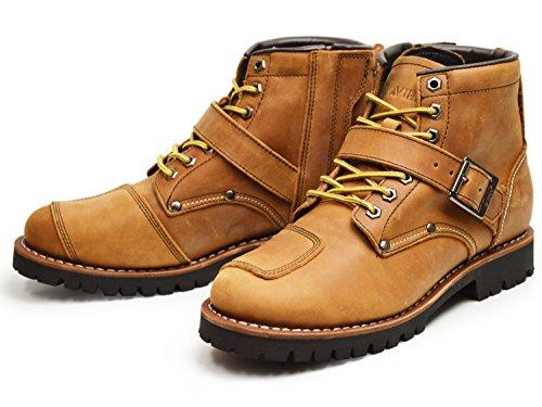 (アビレックス) AVIREX タイガー TIGER 本革 ライダース ブーツ バイカーズ ブーツ ワークブーツ メンズ エンジニア 靴 サイドジッパー ミリタリー US9(27cm) Crazy/Horse ブラウン