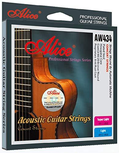 【540円】Alice Acoustic Guitar Strings Set AW434 Light .012 .016 .024 .032 .042 .053 酸化防止コーティング [並行輸入品]  が安い! 【111円~】安いアコースティックギター弦特集! 値段を気にせず常に新しい弦で練習できるおすすめ格安アコギ弦!レビュー・感想【コーティング弦】