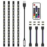 LEDテープライト テレビ PC照明 TVバックライト 20色 RGB RFリモコン付き USB接続 カラー選択 防水 LEDストリップライト 50cm×4本