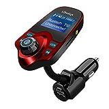 LDesign 車載用 FM トランスミッター Bluetooth 3.0 充電可能 マイクロSDカードに対応 低ノイズ 高音質 大型液晶表示 (レッド)
