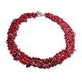 [ブリング・ジュエリー] Bling Jewelry マルチストランド宝石用原石赤い珊瑚チップがっしりネックレスクラスタ [インポート]