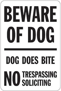 BEWARE OF DOG ―― DOG DOES BITE 猛犬注意、犬が噛みます、立ち入り禁止、からかわないマグネットサイン
