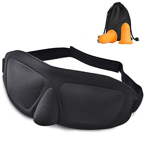 AWOVIN アイマスク 安眠 2018年最新版 3D 立体型 遮光性 (改良版耳栓&収納袋付き) L(頭囲55-61cm)