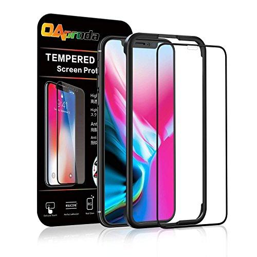 OAproda iPhone X/iPhone XS 全面保護フィルム アイフォン10 ガラスフィルム 液晶強化ガラス 全面フルカバー【存在感ゼロ/画面鮮やか高精細/貼り付け簡単/本体の湾曲する端まで貼れる】iPhoneX/XS, ブラック(黒)