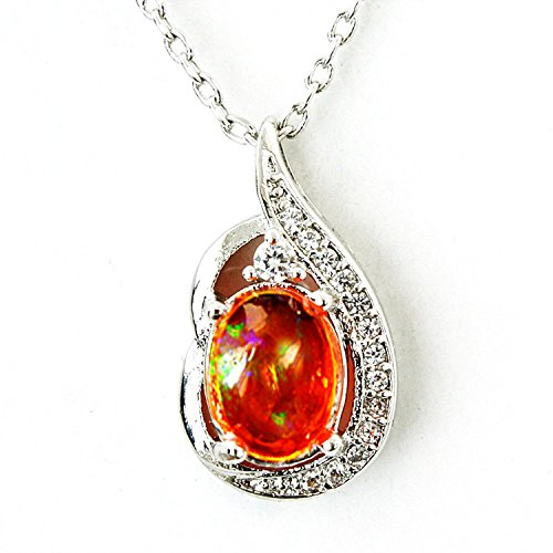 One&Only Jewellery 【鑑別書付】 1ct 天然 オパール ネックレス ペンダント K18GP 10月誕生石 (ファイヤーオパール)