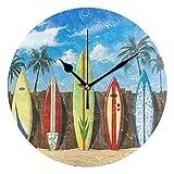 掛け時計 砂浜 サーフボード 連続秒針 壁掛け時計 ウォールクロック 時計 静音