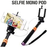 自撮り棒  iPhone5/5sケース1個つき Bluetoothよりもかんたん!設定・充電不要、手元でワンタッチ撮影 ブラック